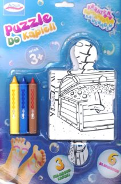 Puzzle a pastelky do vany - Pláž (6 dílů + 3 pastelky)