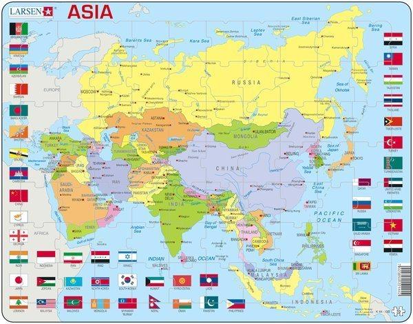 LARSEN Puzzle Asie - politická mapa (anglicky) 70 dílků