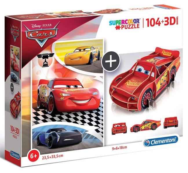 CLEMENTONI Puzzle Auta 104 dílků a 3D puzzle Blesk McQueen