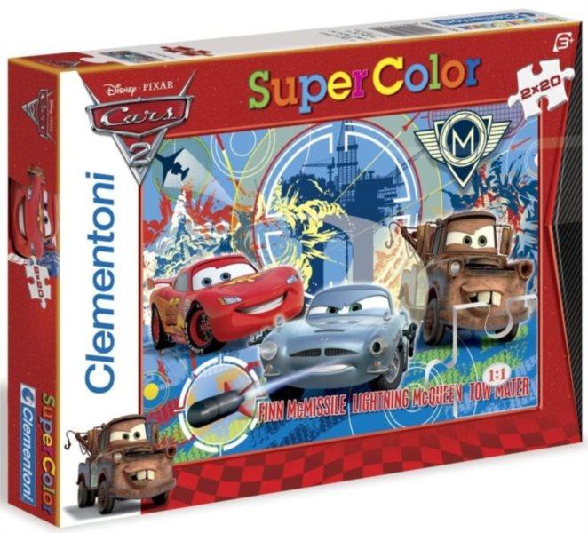 CLEMENTONI Puzzle Auta 2: Blesk McQueen s přáteli 2x20 dílků