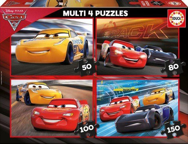 EDUCA Puzzle Auta 3 4v1 (50,80,100,150 dílků)
