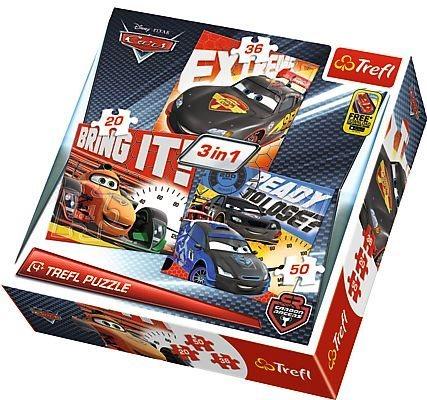 Puzzle pro děti 3v1 TREFL - Auta: Carbon Racers 20,36,50 dílků