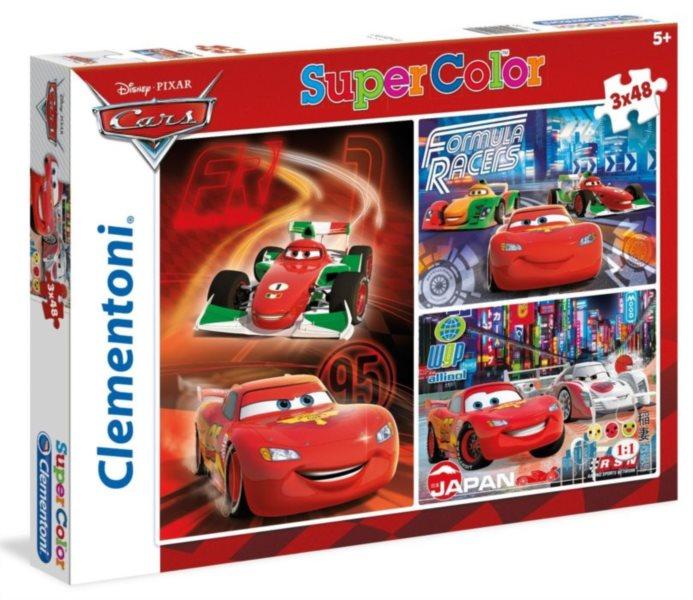 Dětské puzzle 3x48 dílků - Auta (Cars): Závodníci