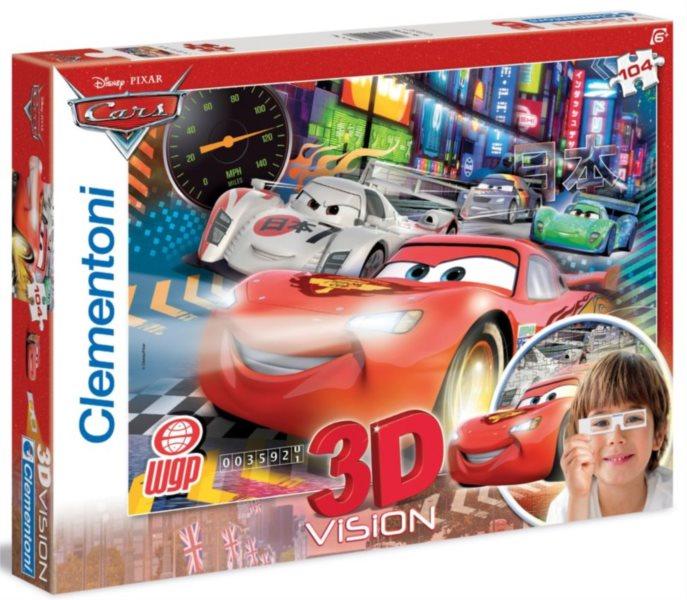 Dětské puzzle + 3D brýle - CLEMENTONI Auta (Cars): Velký závod, 104 dílků