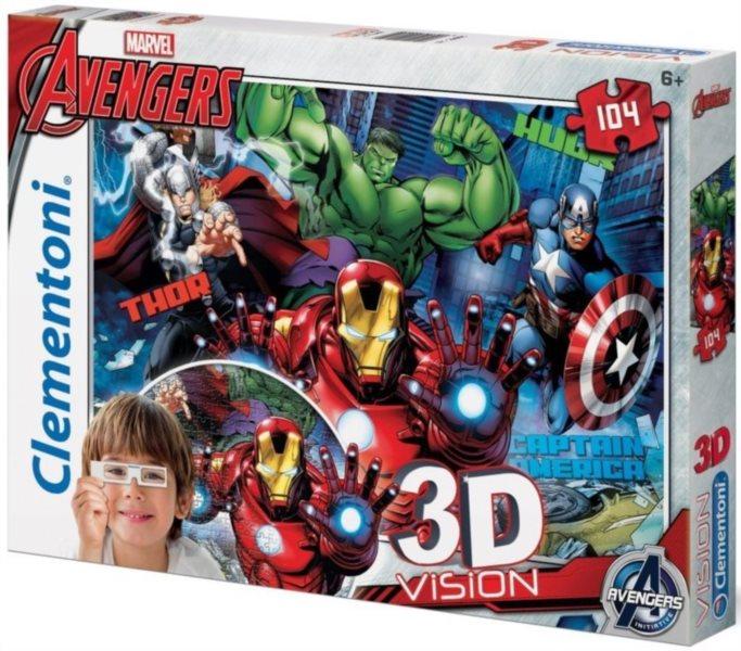 Dětské puzzle + 3D brýle - CLEMENTONI, Avengers 104 dílků
