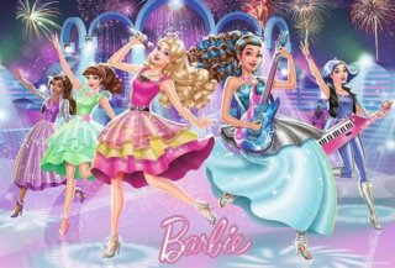 Puzzle pro děti TREFL 100 dílků - Barbie: Rockové hvězdy
