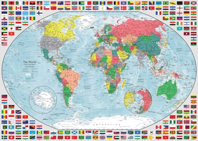 RAVENSBURGER Puzzle Barevná mapa světa 1000 dílků