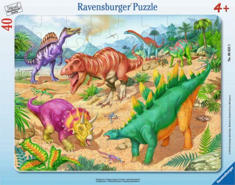 RAVENSBURGER Puzzle Barevní dinosauři 40 dílků