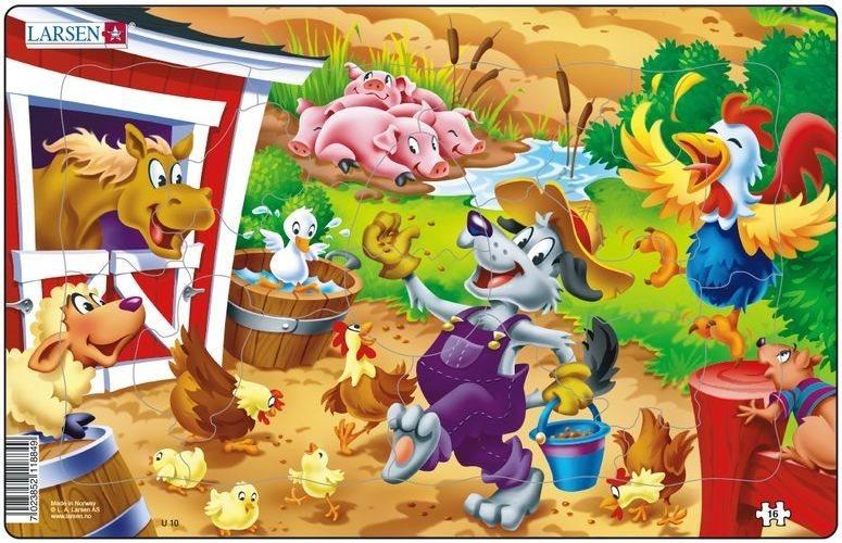 LARSEN Puzzle Barney pracuje na dvorku 16 dílků