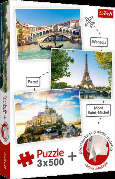 TREFL Puzzle Benátky, Paříž, Mont Saint-Michel 3x500 dílků