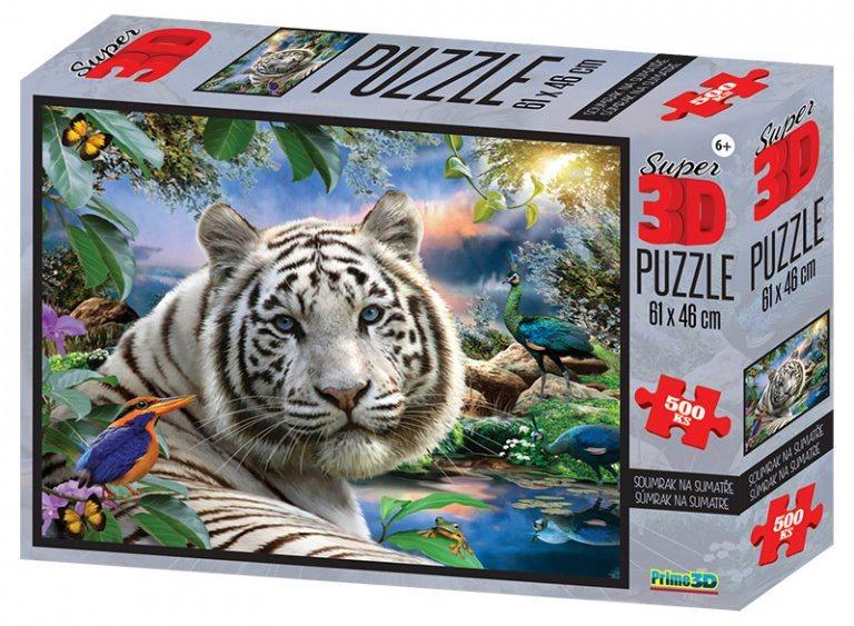 PRIME 3D Puzzle Bílý tygr 3D 500 dílků