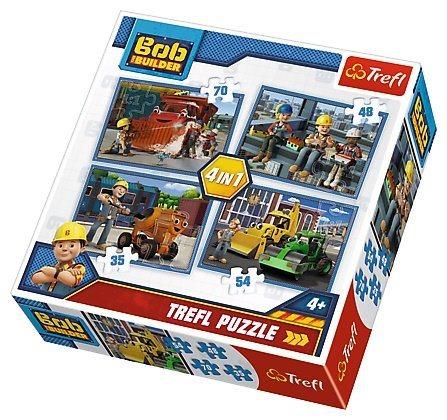 TREFL Puzzle pro děti 4v1 - Bořek Stavitel (35 - 70 dílků)