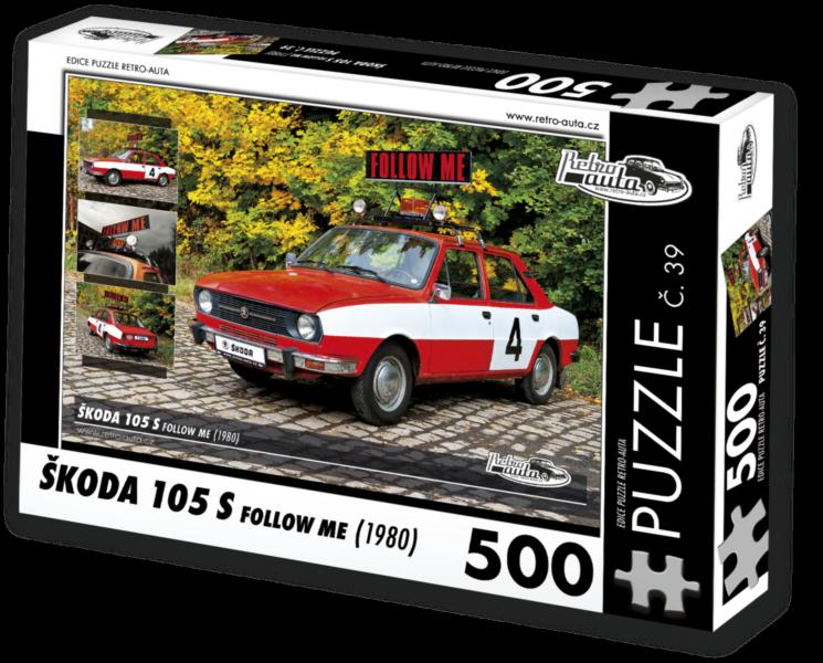 RETRO-AUTA Puzzle č. 39 Škoda 105 S Follow Me (1980) 500 dílků