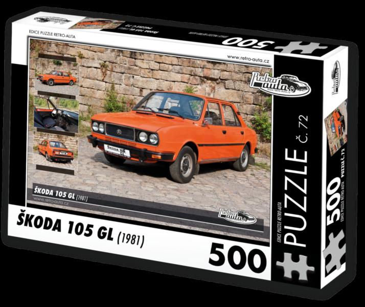 RETRO-AUTA Puzzle č. 72 Škoda 105 GL (1981) 500 dílků