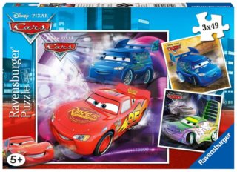 Dětské puzzle RAVENSBURGER 3x49 dílků - Cars (Auta): Na závodní dráze 3v1