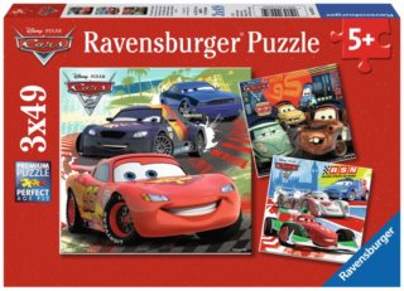 Dětské puzzle RAVENSBURGER 3x49 dílků - Cars (Auta): Zábavné závodění 3v1
