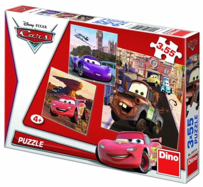 Puzzle DINO - Cars v akci 3x55 dílků