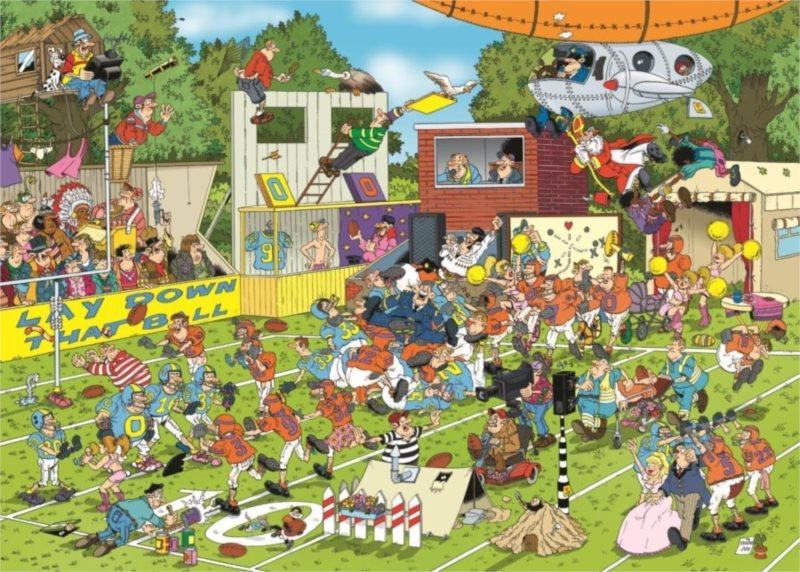 Puzzle JUMBO 19020 Haasteren: Chaos na hřišti 150 dílků