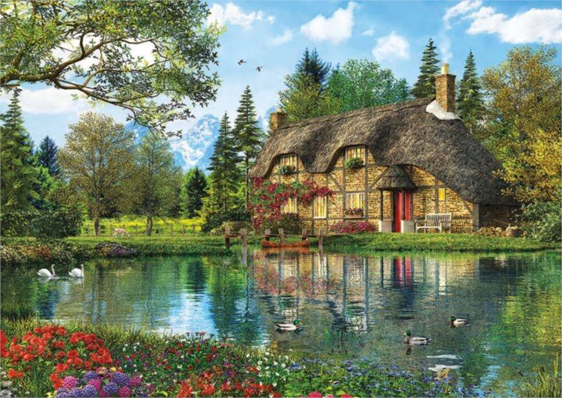 EDUCA Puzzle Dům s výhledem na jezero 2000 dílků
