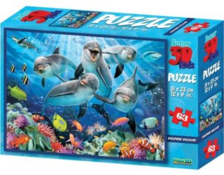PRIME 3D Puzzle Delfíní radost 3D 63 dílků