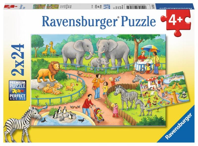 RAVENSBURGER Puzzle Den v zoo 2x24 dílků