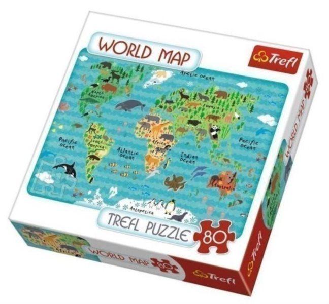 Puzzle pro děti TREFL 80 dílků - Dětská mapa světa