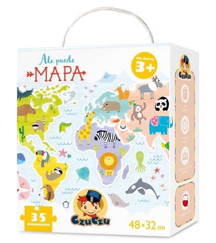 Dětské puzzle CZUCZU - Dětská mapa světa - zvířata 35 dílků