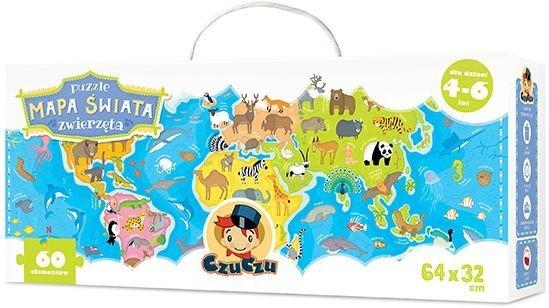 Dětské puzzle CZUCZU - Dětská mapa světa - zvířata 60 dílků