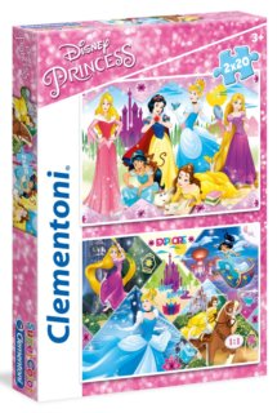 CLEMENTONI Puzzle Disney princezny 2x20 dílků