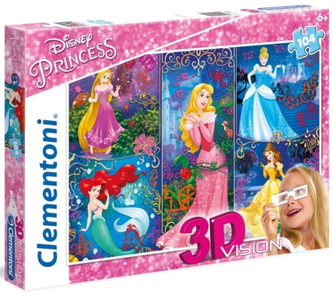 Dětské puzzle + 3D brýle - CLEMENTONI, Disney princezny 104 dílků