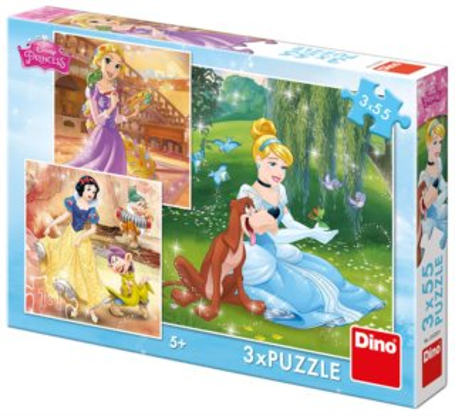 DINO Puzzle Disney princezny 3x55 dílků