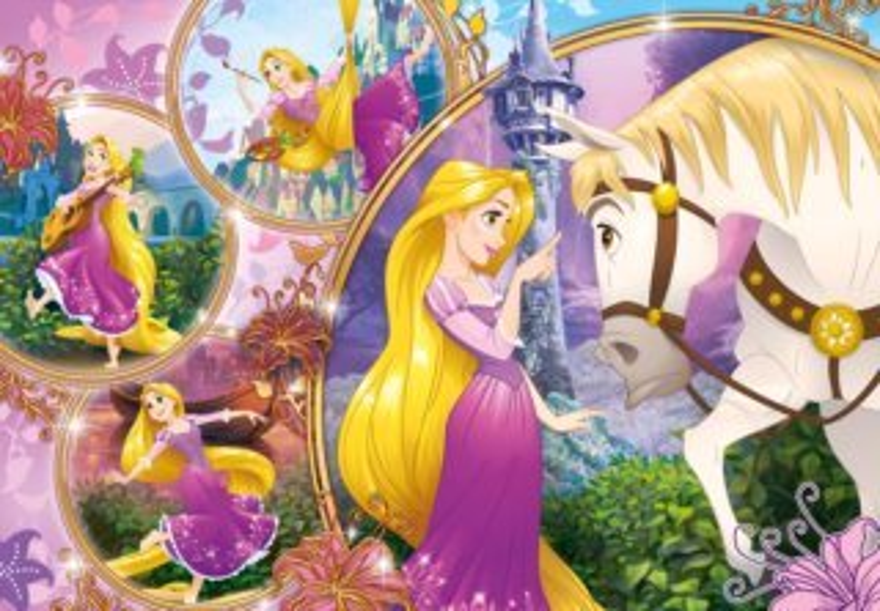 CLEMENTONI Puzzle Disney princezny: Na vlásku MAXI 24 dílků