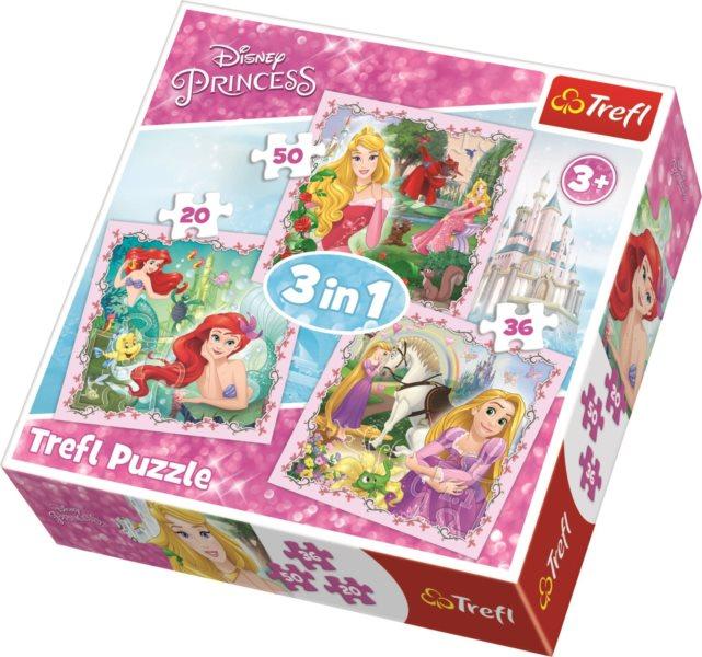 TREFL Puzzle Disney princezny s přáteli 3v1 (20,36,50 dílků)