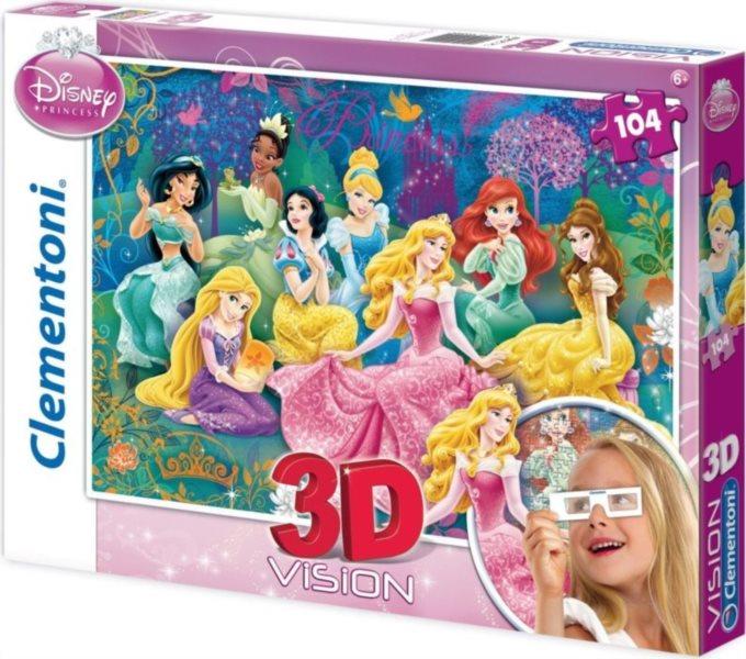Dětské puzzle + 3D brýle - CLEMENTONI 20090 Disney princezny 104 dílků