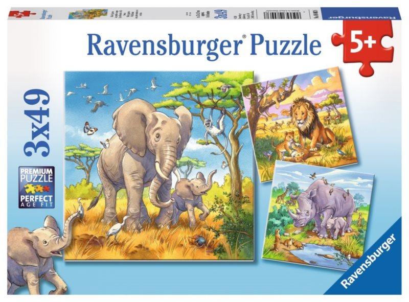 RAVENSBURGER Puzzle Divoká zvířata 3x49 dílků
