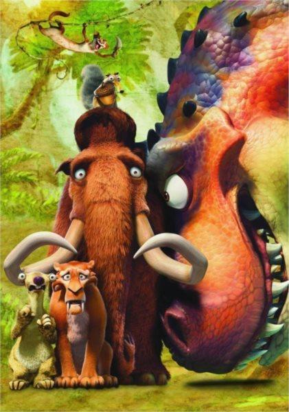 Dětské puzzle DINO 100 dílků - Doba ledová: Dinosauři XL