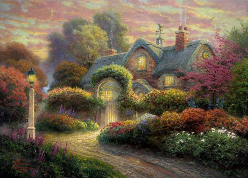 Puzzle SCHMIDT 1000 dílků - T. Kinkade, Dům s růžovými poupaty
