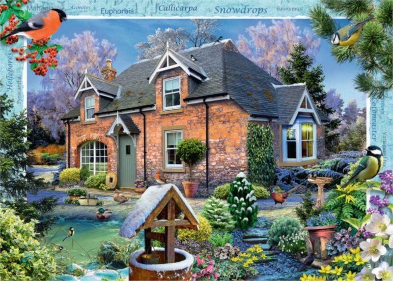 RAVENSBURGER Puzzle Domek se sněženkami (Snowdrop Cottage) 1000 dílků