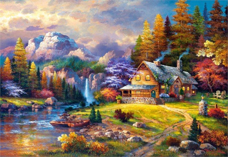 CASTORLAND Puzzle Domek v horách 1500 dílků
