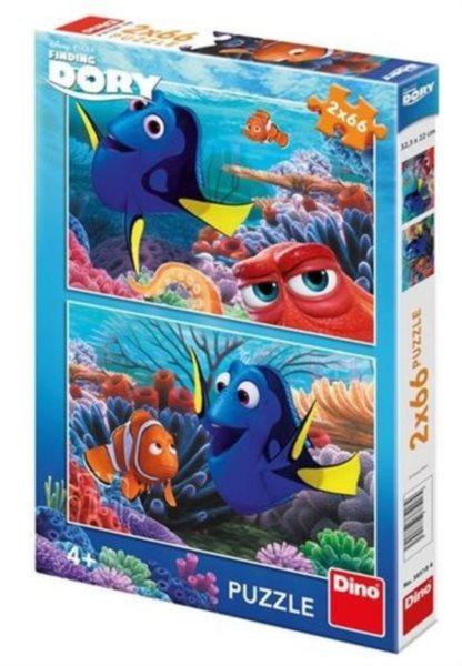 DINO Puzzle Hledá se Dory: Dory mezi korály 2x66 dílků
