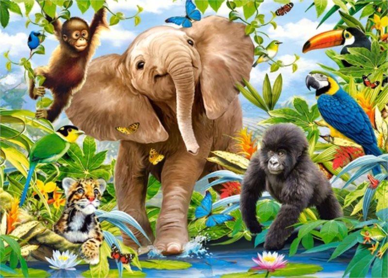 CASTORLAND Puzzle Mláďata v džungli 35 dílků