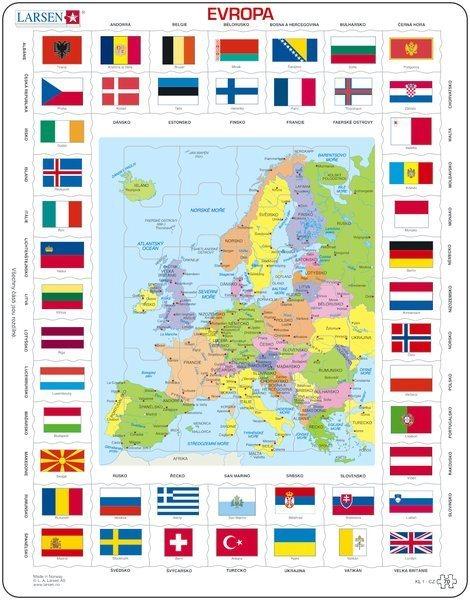 LARSEN Puzzle Evropa - mapa a vlajky 70 dílků