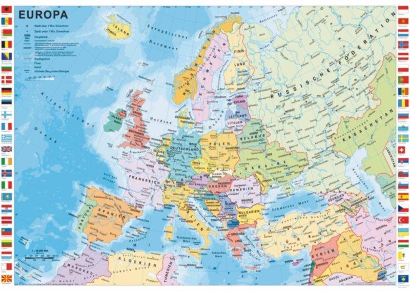 SCHMIDT Puzzle Evropské země 1000 dílků