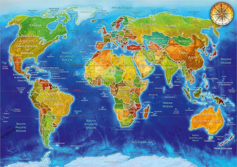 BLUEBIRD Puzzle Geopolitická mapa světa 1000 dílků