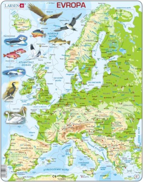 Deskové edukativní puzzle LARSEN 87 dílky - Geografická mapa Evropy