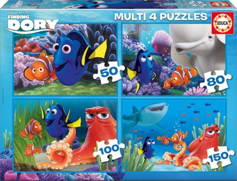 EDUCA Puzzle Hledá se Dory 4v1 (50,80,100,150 dílků)