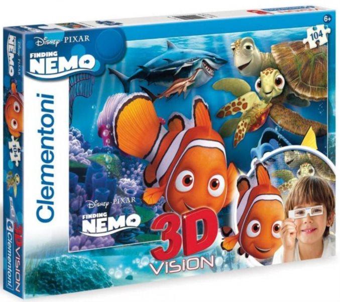 Dětské puzzle + 3D brýle - CLEMENTONI Hledá se Nemo: Rodina, 104 dílků