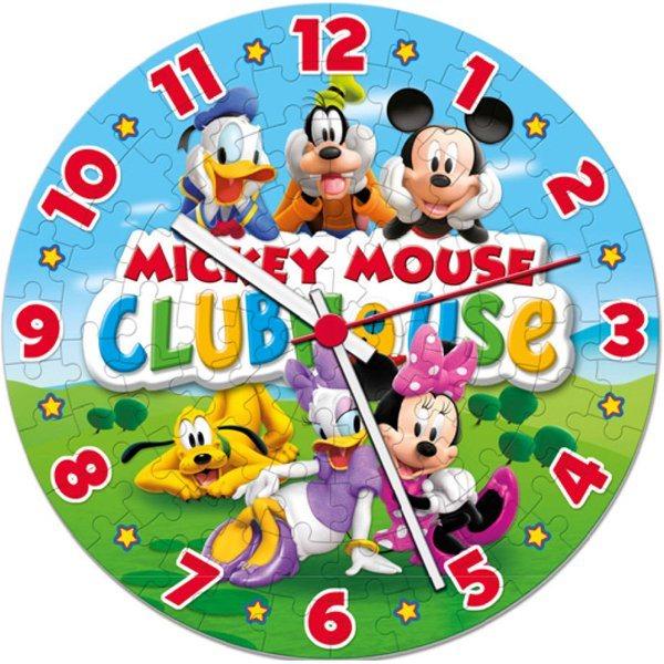 CLEMENTONI Svítící puzzle hodiny Mickey Mouse 96 dílků