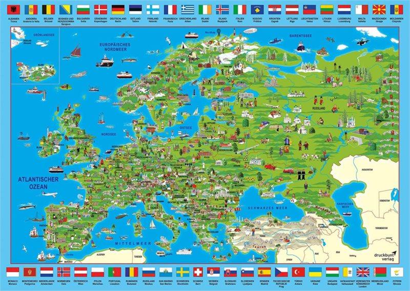 SCHMIDT Puzzle Ilustrovaná mapa Evropy 500 dílků