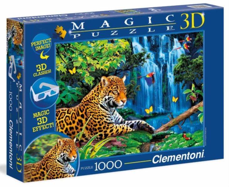 Puzzle + 3D brýle CLEMENTONI 1000 dílků - Jaguár v džungli